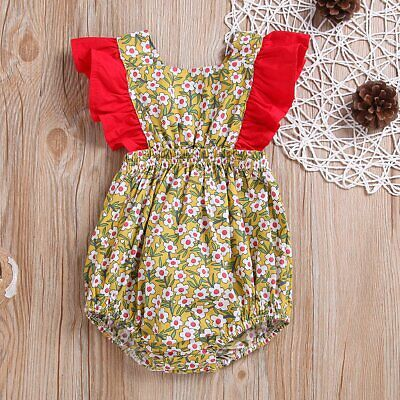 Newborn Infant Baby Girl Floral Jumpsuit Romper Bodysuit Clothes Outfits Sunsuit
