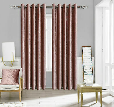 Luxury Pair Of Thermal Crushed Velvet Velour Eyelet Lined Curtains Uk By Furzon