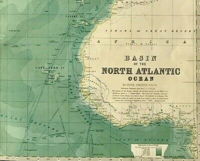 Antique map c1895 BASIN OF THE NORTH ATLANTIC OCEAN WEST INDIES by K Johnston
