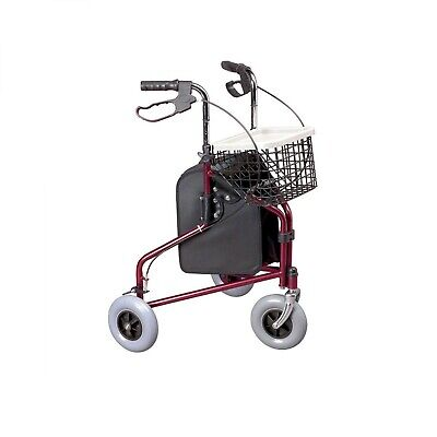 Homecraft Three-Wheeled Rollator With Bag And Basket Ruby Red - 091169960