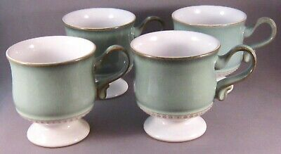 Denby Venice Ironstone Footed Coffee Cups - Set of 4 - Green Band