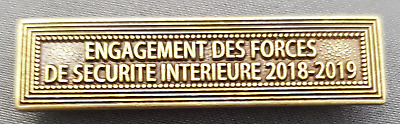 Agrafe ENGAGEMENT DES FORCES DE SECURITE INTERIEUR 2018-2019 EFSI Classe Bronze