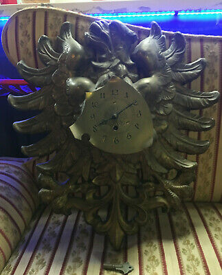 Antique French 8-Day Brass Pressed Eagle Wall Clock