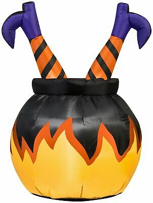 Halloween Airblown Inflatable Outdoor Witch Legs in Cauldron 3 Ft Tall