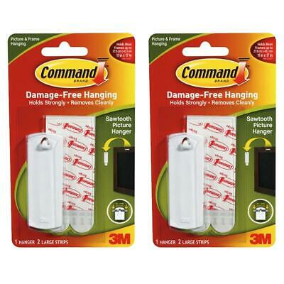 2 x Command Sawtooth Picture Hanging Hook Kit 1 Hanger & 2 Large Strips