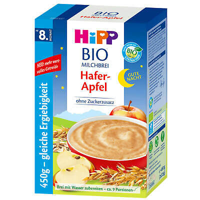 "450g Hipp Bio Milk Pudding Good Night Oats Apple without Added Sugar "" 9"