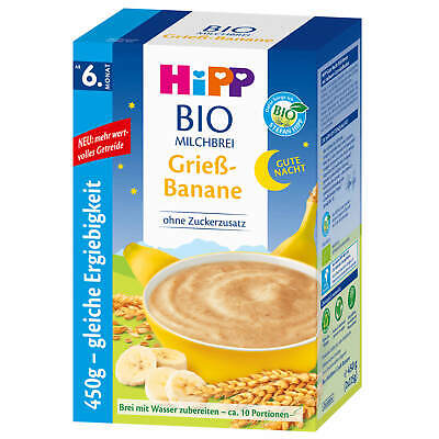 450g Hipp Bio Milk Pudding Good Night Semolina Banana from the 6 Month Without