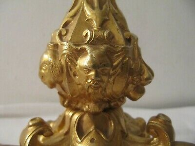 Antique Rare Ormolu Gilded Bronze Devil & Faces Claw Footed Table Lamp GA