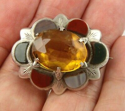 Vintage Art Deco c 1930's sterling silver Scottish agate citrine brooch pin