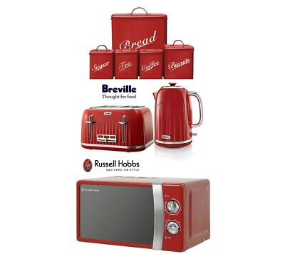 Breville Kettle and Toaster Set & Russell Hobbs Microwave & Canister Set Red New