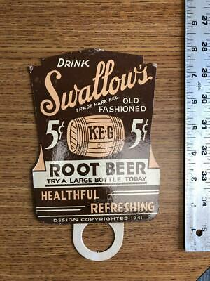 Swallow's Root Beer advertising Bottle Topper circa 1940s Grocery Soda Fountain