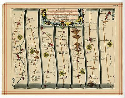 OGILBY Strip Map, Temsford To Lincoln, Lincoln To Flamborough