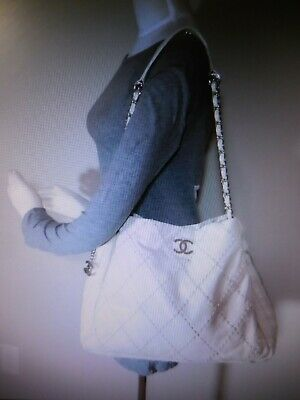 CHANEL Off White/ Cream Quilted Shoulder Bag Silver Tone Hardware CC ~ Nice!