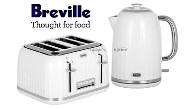 Kettle and Toaster Set Breville Impressions White Kettle & 4 Slice Toaster - New