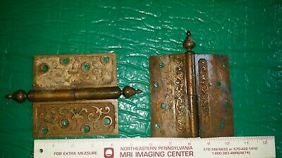 Antique Door BUTT HINGES Brass ORNATE  hardware