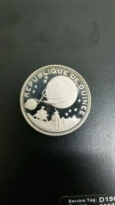 1970 GUINEA Space NASA Moon Landing Antique Proof Silver 250 Francs Coin Toned
