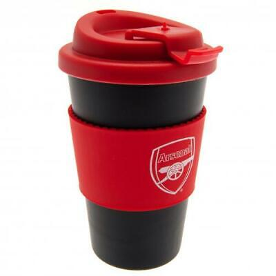 Arsenal FC Official Crested 400ml Silicone Grip Travel Mug Present Gift