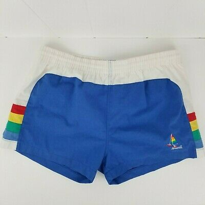 VTG Pacific Reflections Hawaii Mens Size M Swim Trunks Rainbow Blue Surf Shorts