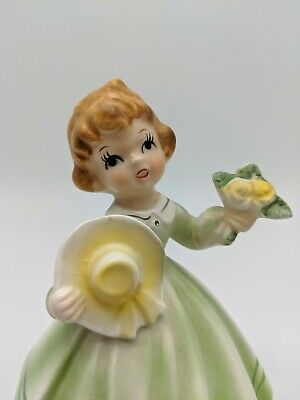 Vintage Musical Ornament Figurine Girl Ceramic Retro Kitsch Japan Josef Green