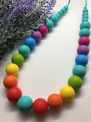 SALE Silicone Necklace Mum Sensory Jewellery Beads Rainbow Gift was teething
