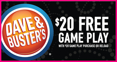 🔶 Lot of 8 🔶 Dave & Buster's BUY $20 GET $20 GAME PLAY ᶜᵒᵘᵖᵒⁿˢ 🔶 Video Arcade