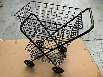 Shopping / Laundry Trolley, Double Basket, Large Fixed Wheel - CLEARANCE
