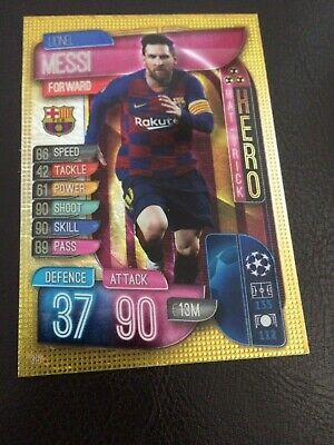 Match Attax 2019/20 Lionel Messi Hat-Trick Hero No 315 Mint