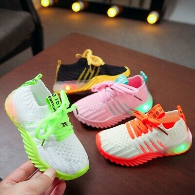 Children Kids Baby Girls Boys Candy Color Led Luminous Sport Run Sneakers Shoes