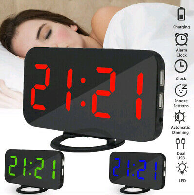 USB LED Digital Table 3D Wall Clock Big Display Alarm Clocks Brightness Dimmer