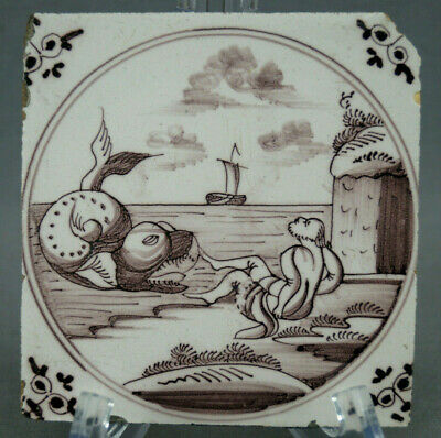 Late 18th Century Dutch Delft Man Being Attacked By Sea Monster Purple Tile