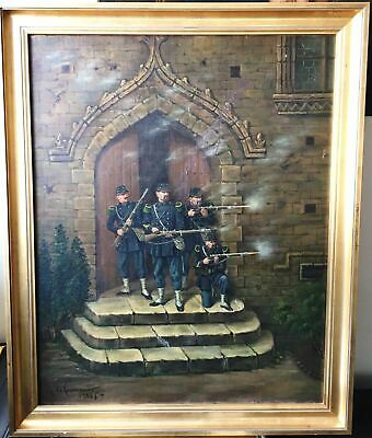 """ANTIQUE OIL PAINTING ON CANVAS WITH FRAME """"BATTLE SCENE"""" dated 1885 and signed"""