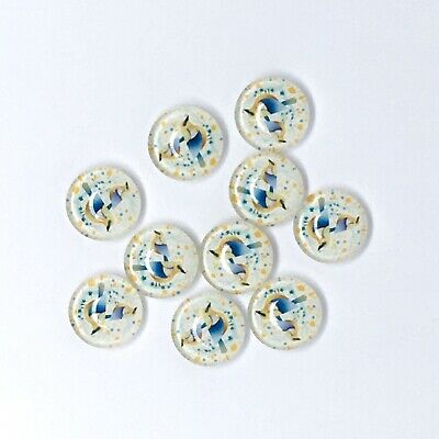 10pc 12mm Blue Bird Cabochons Glass Domed