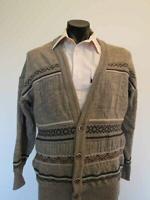 Taupe Intarsia Wool Cardigan by Mr H - 1980s - XL