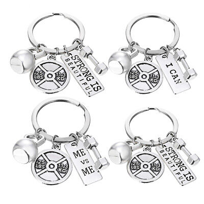 ** Bodybuilding Keyring ** Weight Lifting ** Fitness Gym Iron Dumbbell Weights *