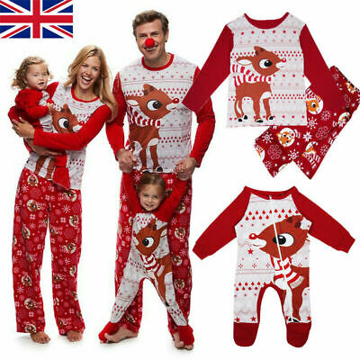 New Family Matching Women Kids Christmas Pyjamas Xmas Nightwear Pajamas PJs Sets