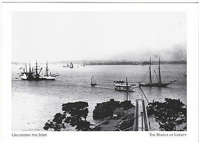"""*POSTCARD-""""Unloading The ISERE""""-1885-Arrives in NY-The Statue of Liberty (#43)"""