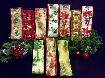 CHRISTMAS CRAFTING RIBBONS FOR CARDS BOWS GIFTS ETC. WIRED 10 x 1m LUXURY BUNDLE