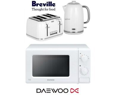 Breville Impressions Kettle and Toaster Set & Daewoo Microwave White - New