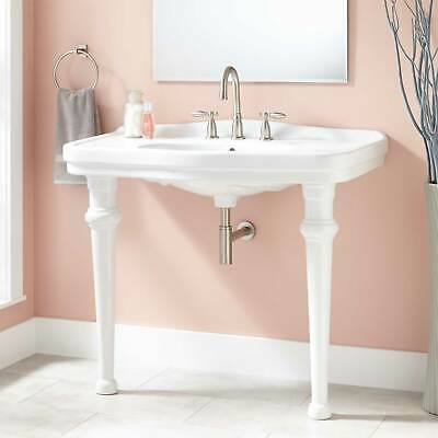 """Signature Hardware 42"""" Peloso Porcelain Console Sink with 8"""" Centers in White"""