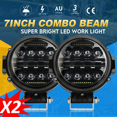 2X 7 Inch Round LED Work Light Spot Combo Lamp DRL Driving Bull Bar Offroad 4WD