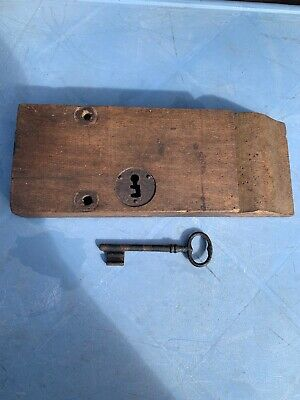 Antique French Wooden Door Rim Lock With Key Double Lock