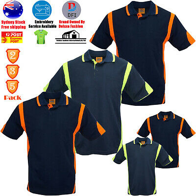 2 3 5 Pack Hi Vis Polo T Shirt Arm Panel Piping Work Wear Cool Dry Short Sleeve