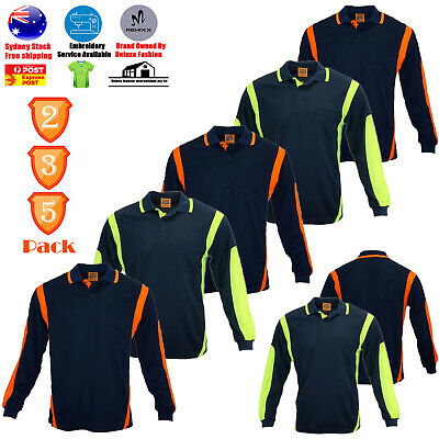 2 3 5 Pack Hi Vis Polo Top Shirt Arm Panel Piping Work Wear Cool Dry Long Sleeve