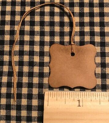 100 Primitive Coffee Stained FANCY EDGES SMALL SQUARE gift Hang Tags Price lot