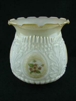 VINTAGE MOULDED WHITE MILK GLASS TULIP OIL LAMP SHADE 9.9cm FITTER, FLORAL DECOR