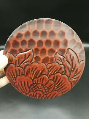 Japanese Lacquer Red Wood Carve Flower Tea Ceremony Stand Tea/Signed