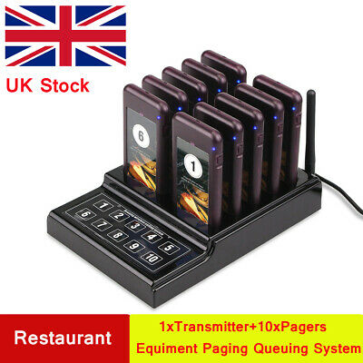Restaurant Wireless Calling Paging Queuing System Transmitter&10*Pager 433MHz UK