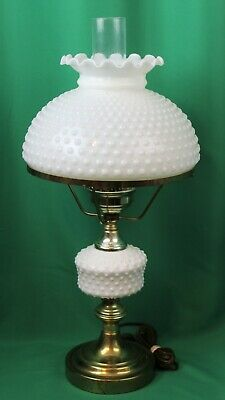 Vintage  GWTW Gone With Wind  White Milk Glass Hobnail Table Lamp Fenton Shade