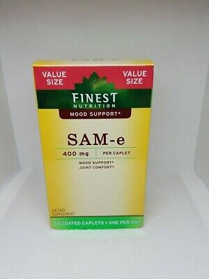 Finest Nutrition Sam-E Mood Support 400 mg 60 Coated Caps Exp: 03/2021