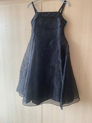 Stunning Girls Black Organza Sequin Party Dress Size Age 8-9Yrs  2/2 Avail Twins
